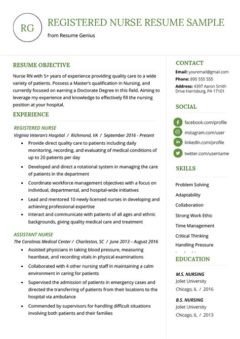 Nursing Resume by Nursing Resume Sle Writing Guide Resume Genius