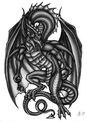 Dragon tattoo design by alecan.deviantart.com | dragons/wizards/fairys | Dragon tattoo designs