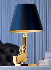 GUN Bedside Table Lamp in Gold with Black Lamp Shade   FLOS