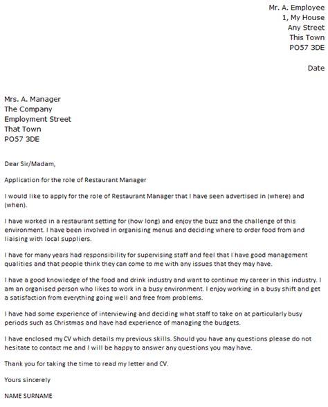 Restaurant Resume Cover Letter by Restaurant Manager Cover Letter Exle Cover Letters