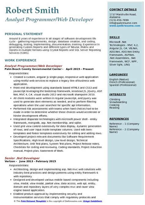 Todays Resumes Sles by Programmer Developer Resume Best Photos And Description