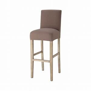 Housse Chaise De Bar : housse de chaise de bar en coton taupe boston maisons du monde ~ Teatrodelosmanantiales.com Idées de Décoration