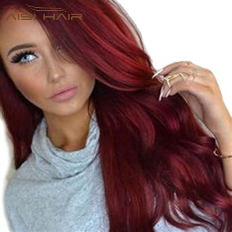 wig synthetic red wigs long wavy hair  women