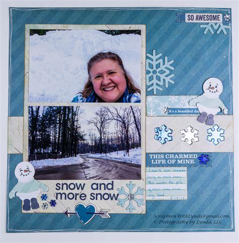 scrapbook layout snow   snow scrapbook  lynda