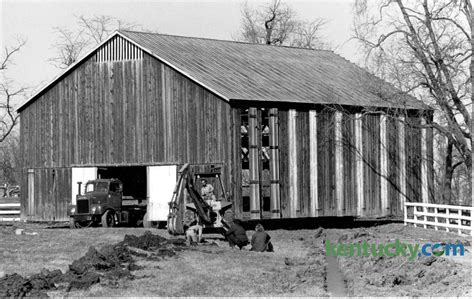 tobacco barn move  kentucky photo archive