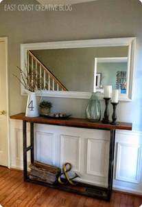 Pottery Barn Sofa Knockoff by Rustic Wood Console Table