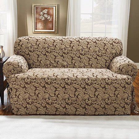 Brown Loveseat Cover by Sure Fit Scroll Brown T Cushion Loveseat Slipcover