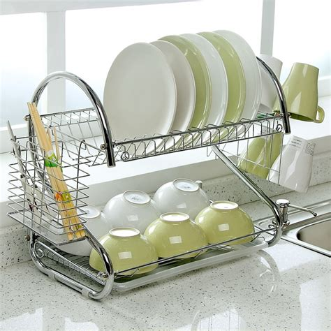 shaped dish rack set  tier chrome stainless plate dish cutlery cup rack  tray steel drain