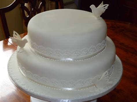 Two Tier White Doves Wedding Cake