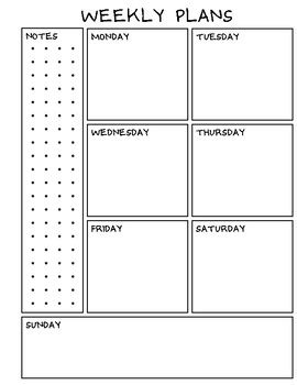 weekly planner  monthly sheets  student  teacher tpt