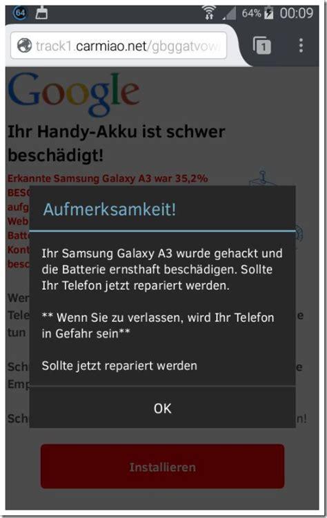 smartphone gehackt falsche warnung mit ihr handy akku