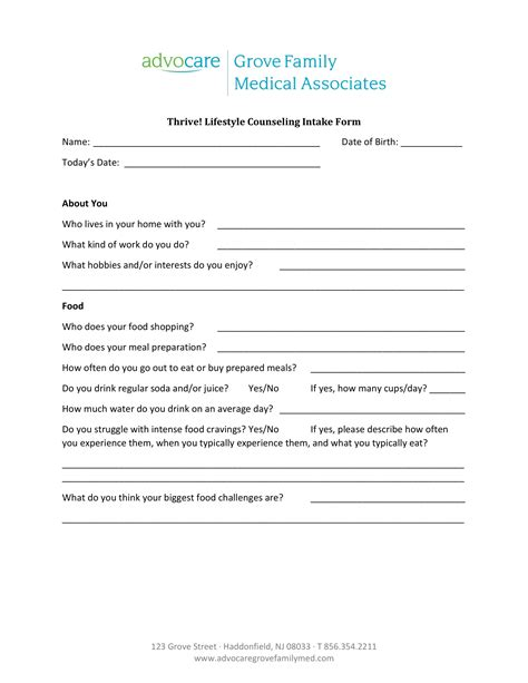 counseling intake forms