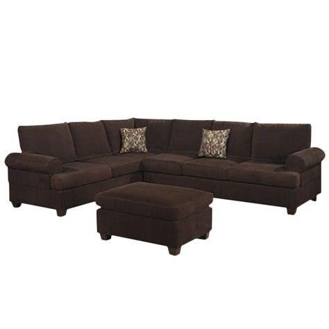 Chocolate Corduroy Sectional Sofa by Poundex Bobkona Dyson Corduroy Sectional Sofa In Chocolate