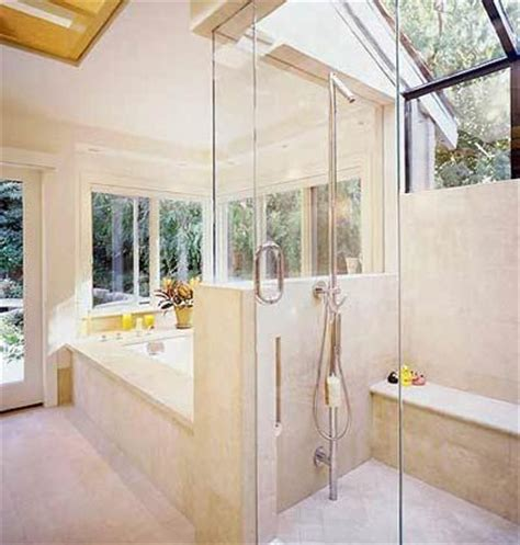 glass shower  exposed pipes  run  floor