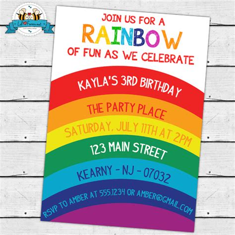 Rainbow Birthday Party Invitation Printable Invitation