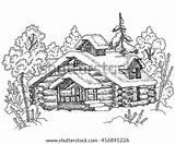 Winter Landscape Drawn Hand Illustration Vector Shutterstock Snow Wood Fir Lodge Preview sketch template