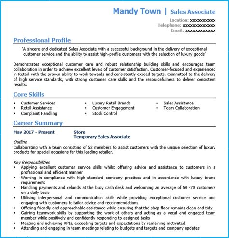 retail sales assistant cv exle writing guide and cv
