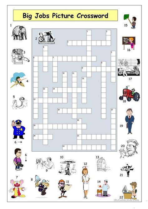 big jobs picture crossword worksheet  esl printable