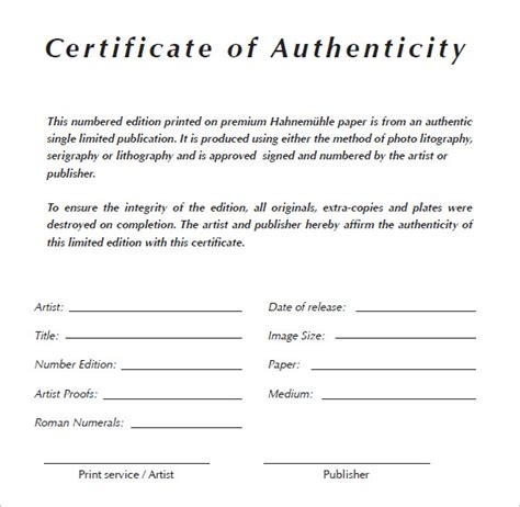 certificate  authenticity templates  samples