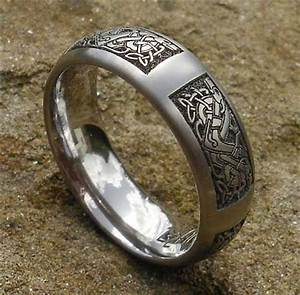 celtic animal titanium rings celtic dog ring viking With asatru wedding rings