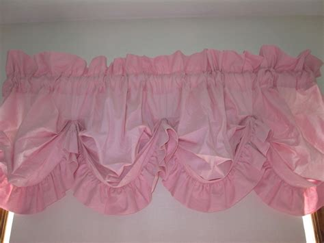 Pink Ruffle Curtain Topper by Pink Ruffled Balloon Valance Shabby Pink Curtains