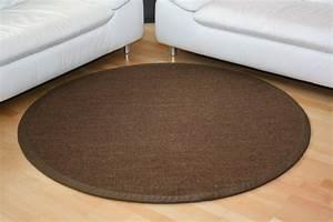 Teppich Rund Braun : sisal teppich manaus dunkelbraun mit stoffbord re 064 ~ Lateststills.com Haus und Dekorationen
