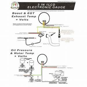 Diesel Dual Lcd Digital 52mm Gauge Set Egt Boost Oil Pressure Water Temp Volts