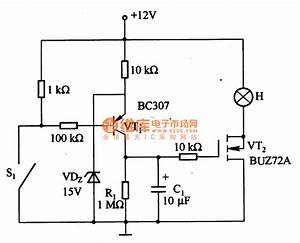 long time delay circuit formed by the power mosfet basic With power delay circuit