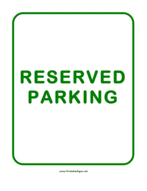 Reserved Parking Signs Template by Printable Reserved Parking Sign