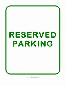 printable reserved parking sign With reserved parking signs template