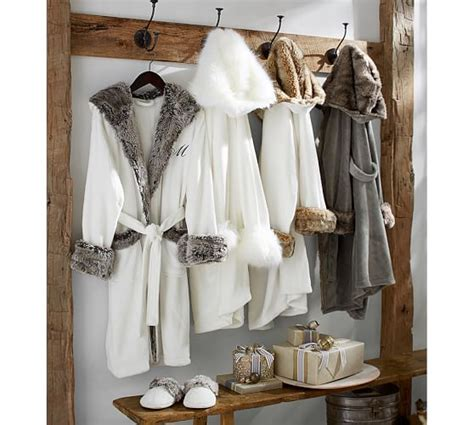 pottery barn robe faux fur robe chinchilla pottery barn