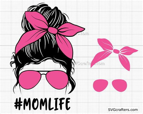 Maybe you would like to learn more about one of these? Momlife Png Svg Messy Bun Hair svg png Layered Mom Skull ...