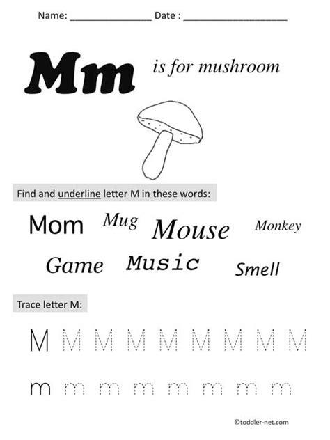 kid worksheet 811 | preschool letter M worksh