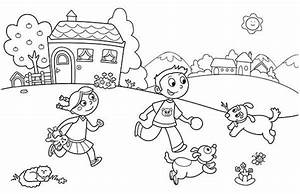 Free coloring pages of kids playing in park