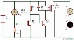 Automatic Street Light Controller Circuit Using Relay And Ldr