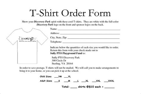 22078 t shirt order forms school t shirt order form template