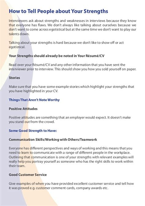 guide to talking about strengths weaknesses in