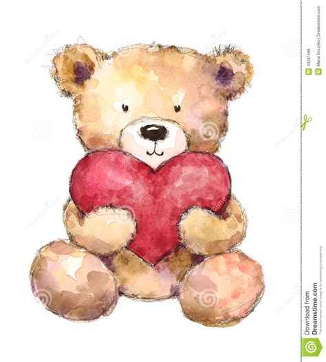 valentines day teddy bear holding  big heart watercolor