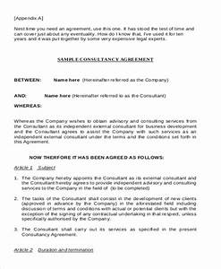 consulting agreement example 9 samples in word pdf With consulting fee agreement template