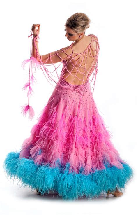 ballroom dress pink ostrich sasuel
