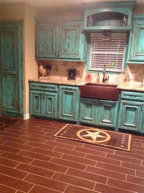 teal rustic kitchen turquoise cabinets home decor