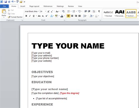 learn how to make resume in microsoft word 2010