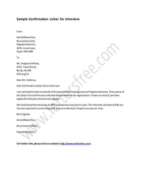 interview confirmation email sle confirmation letter for