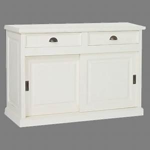 buffet 2 portes coulissantes en bois massif With porte de douche coulissante avec meuble bas salle de bain blanc