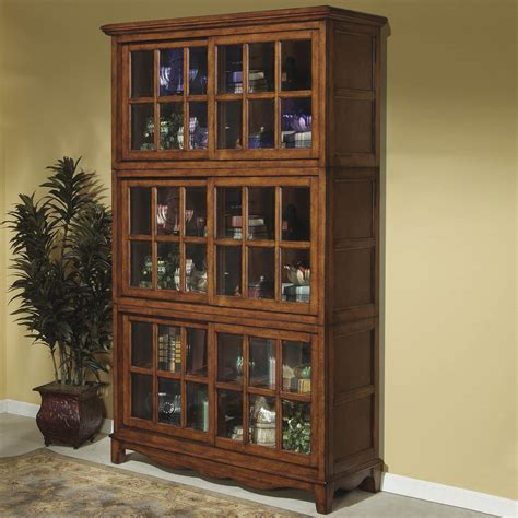 Furniture Brown Wooden Tall Book Cabinet With Sliding