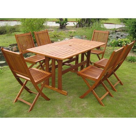 Outdoor Table Set by Teak Outdoor Dining Set 7 Table Chairs Folding Wood
