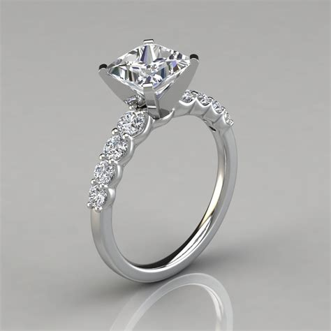 graduated princess cut engagement ring forever moissanite