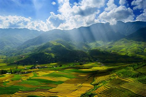 landscape, Nature, Terraced Field, Valley, Hill, Sun Rays ...