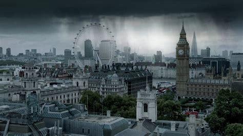 london city cityscape rain clouds uk  shard hd