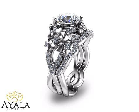 Floral Diamond Engagement Ring Set Unique Bridal Set In
